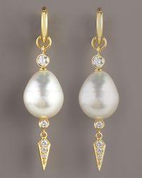 Assael - Metallic Dangle Pearl Earrings - Lyst