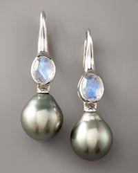 Assael | Gray Moonstone & Pearl Earrings | Lyst