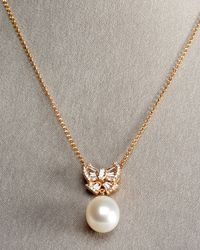 Assael | Metallic Peach Pearl Bow Necklace | Lyst
