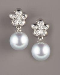 Assael - White South Sea Flower Earrings - Lyst