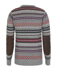 Barbour | Gray Caister Fair Isle Crew Sweater for Men | Lyst