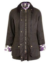 Barbour Black Purple Carline Liberty Print Beadnell Jacket