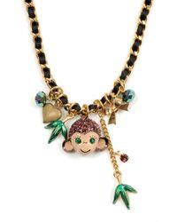 Betsey Johnson | Metallic Asian Jungle Monkey Charm Necklace | Lyst