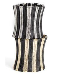 Cara | Black Vertical Bar 2-Tone Stretch Bracelet | Lyst