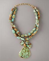 Devon Leigh - Blue Big Stone Turquoise Necklace - Lyst