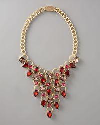 Fragments - Red Rhinestone Bib Necklace - Lyst