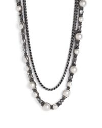 Givenchy | White Vanguard Faux Pearl & Chain Necklace | Lyst