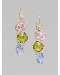 Judith Ripka - Multicolor White Sapphire, Blue Quartz & Sterling Silver Earrings - Lyst