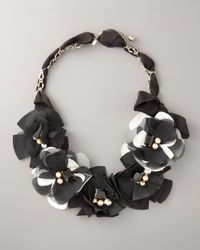 kate spade new york - Black Fabric Flower Necklace - Lyst