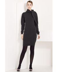 Lanvin | Gray Shoulder Drape Wool & Cashmere Dress | Lyst