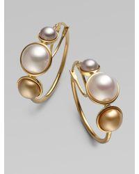 Majorica - Metallic 6mm, 8mm & 10mm Mabe Pearl Hoop Earrings - Lyst