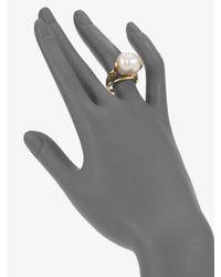 Majorica Metallic 16mm White Baroque Pearl Ring