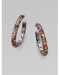M.c.l  Matthew Campbell Laurenza | Multicolor Multi-colored Sapphire Pavé Hoop Earring | Lyst
