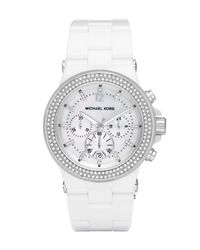 Michael Kors | Ceramic Glitz Watch, White | Lyst