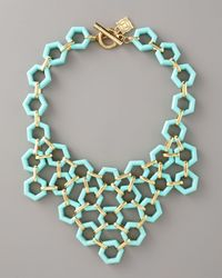 MILLY | Blue Hexagon-link Bib Necklace | Lyst