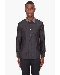 Robert Geller | Gray Cupro Contrast Collar Shirt for Men | Lyst
