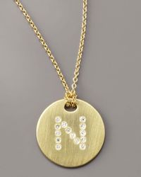 Roberto Coin - Metallic Letter Medallion Necklace, N - Lyst