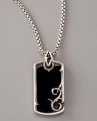 Stephen Webster | Black Onyx Scroll Dog Tag Necklace for Men | Lyst