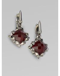 Stephen Webster | Metallic Raspberry Quartz & Darkened Sterling Silver Square Earrings | Lyst