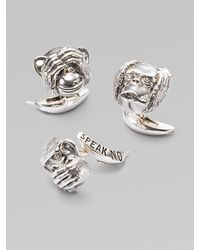 Stephen Webster | Metallic Three Wise Monkeys Cuff Links Set for Men | Lyst