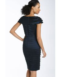 Tadashi Shoji | Blue Rosette Shutter Pleat Sheath Dress | Lyst