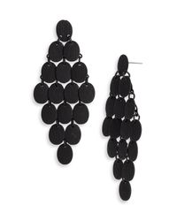 Tasha | Black Disc Chandelier Earrings | Lyst