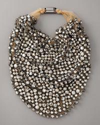 Vera Wang | Metallic Rhinestone Bib Necklace | Lyst