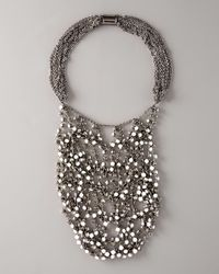 Vera Wang | Gray Wrapped Rhinestone Necklace, White | Lyst