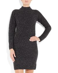 Black Fleece By Brooks Brothers Black Merino Wool and Cashmere-blend Sweater Dress