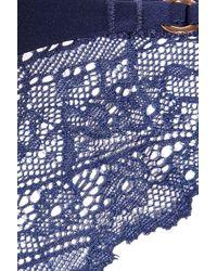 Calvin Klein Blue Envy Stretch-satin and Lace Briefs