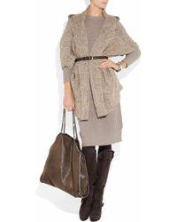 Donna Karan Natural Oversized Hooded Cashmere Cardigan