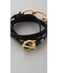 Gorjana - Black Parker Leather Wrap Bracelet - Lyst