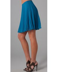 Halston | Blue Short Pleated Skirt | Lyst