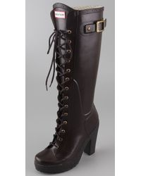 hunter lapins lace up high heel boots in espresso brown