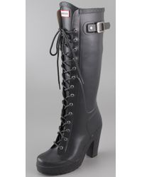 hunter lapins lace up high heel boots in gray  lyst