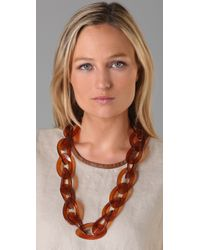 Kenneth Jay Lane Brown Tortoise Link Necklace