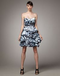 Monique Lhuillier | Blue Tufted-skirt Cocktail Dress | Lyst