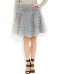 RED Valentino Gray Tiered Tulle Skirt