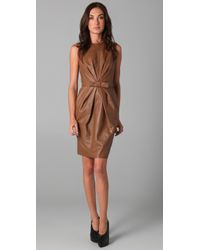 Robert Rodriguez | Brown Leather Belted Dress | Lyst
