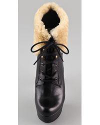 Schutz - Black Shearling Cuff Platform Booties - Lyst