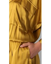 Shakuhachi - Metallic Luxe Utility Drop Waist Maxi Dress - Lyst