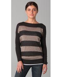 Vince | Brown Rugby Stripe Lurex Sweater | Lyst
