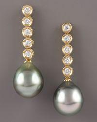 Assael - Metallic Diamond and Pearl Drop Earrings - Lyst