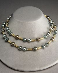 Assael Metallic Pearl and Gold Strand Necklace