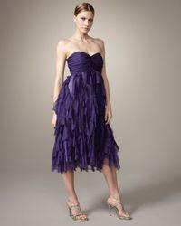 Badgley Mischka Purple Strapless Shredded-skirt Dress