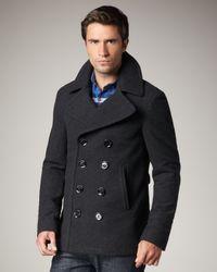 Burberry Brit Gray Short Wool-blend Pea Coat for men