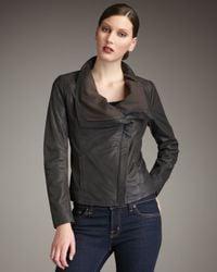 Elie Tahari | Brown Virginia Draped Leather Jacket | Lyst