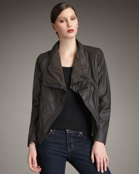 Elie Tahari - Brown Virginia Draped Leather Jacket - Lyst