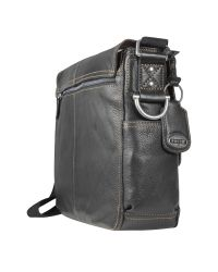 Fossil Black Desperado Ew - Leather Laptop Messenger Bag for men