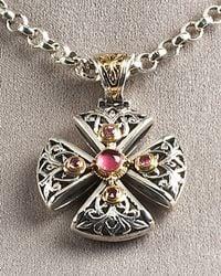 Konstantino Metallic Ornate Cross Pendant